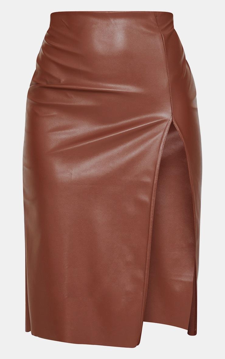 Chocolate Faux Leather Split Detail Midi Skirt 5