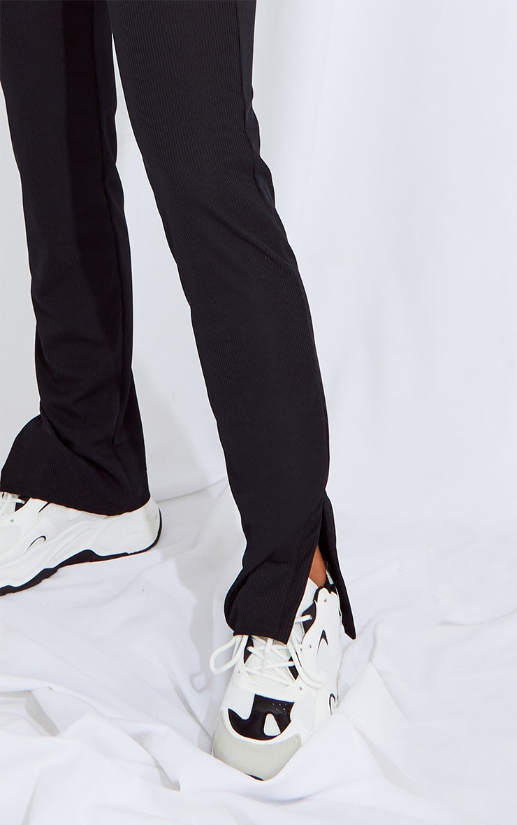 RECYCLED Black Split Hem Trousers 4