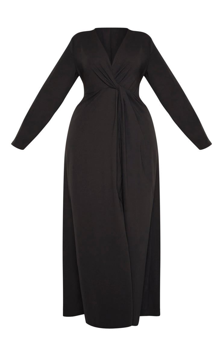 Plus Black Twist Front Maxi Dress 3