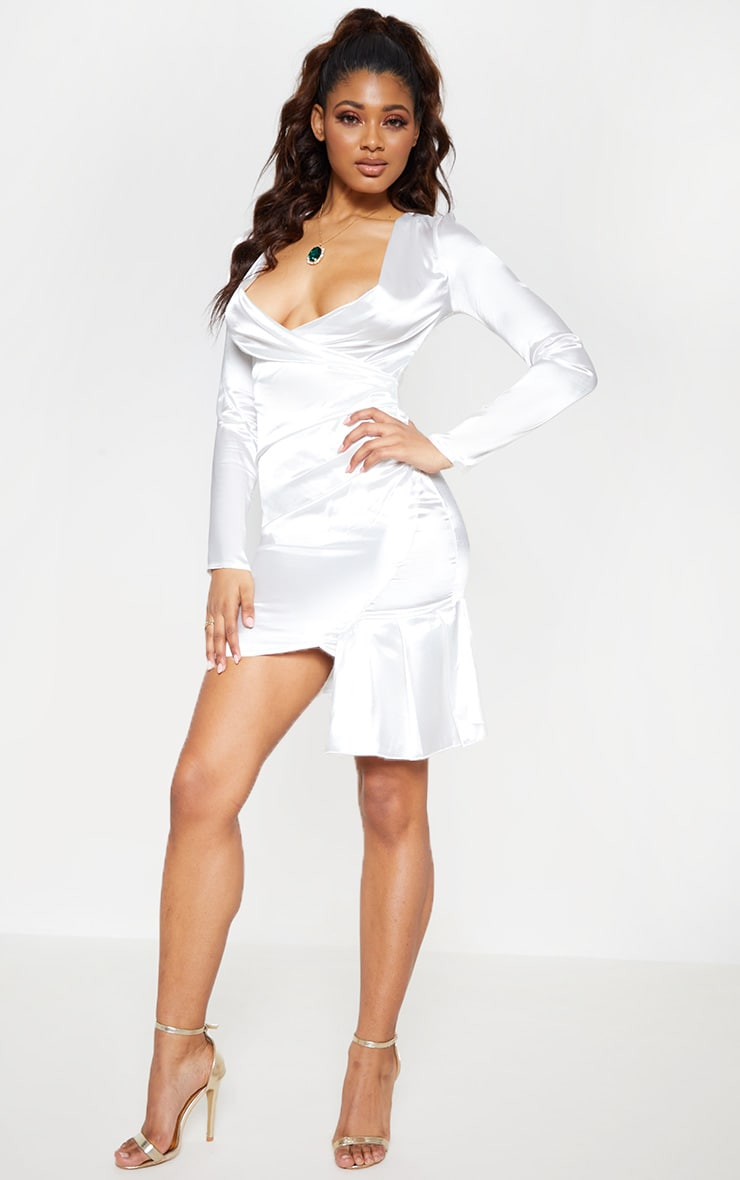 Tall White Satin Ruched Long Sleeve Bodycon Dress