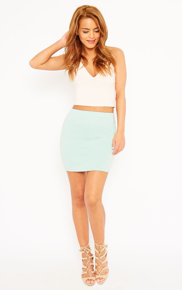 Basic Mint Scuba Mini Skirt 4