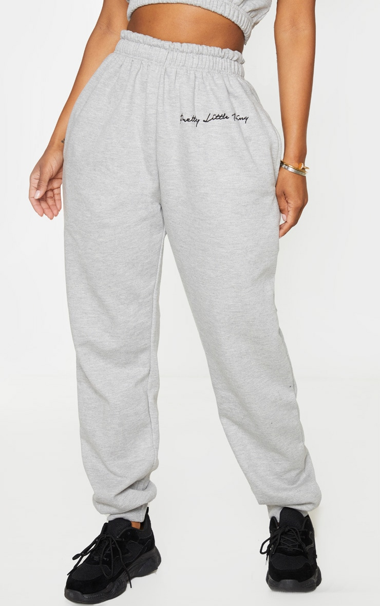 PRETTYLITTLETHING Shape Grey Embroidered Joggers 2
