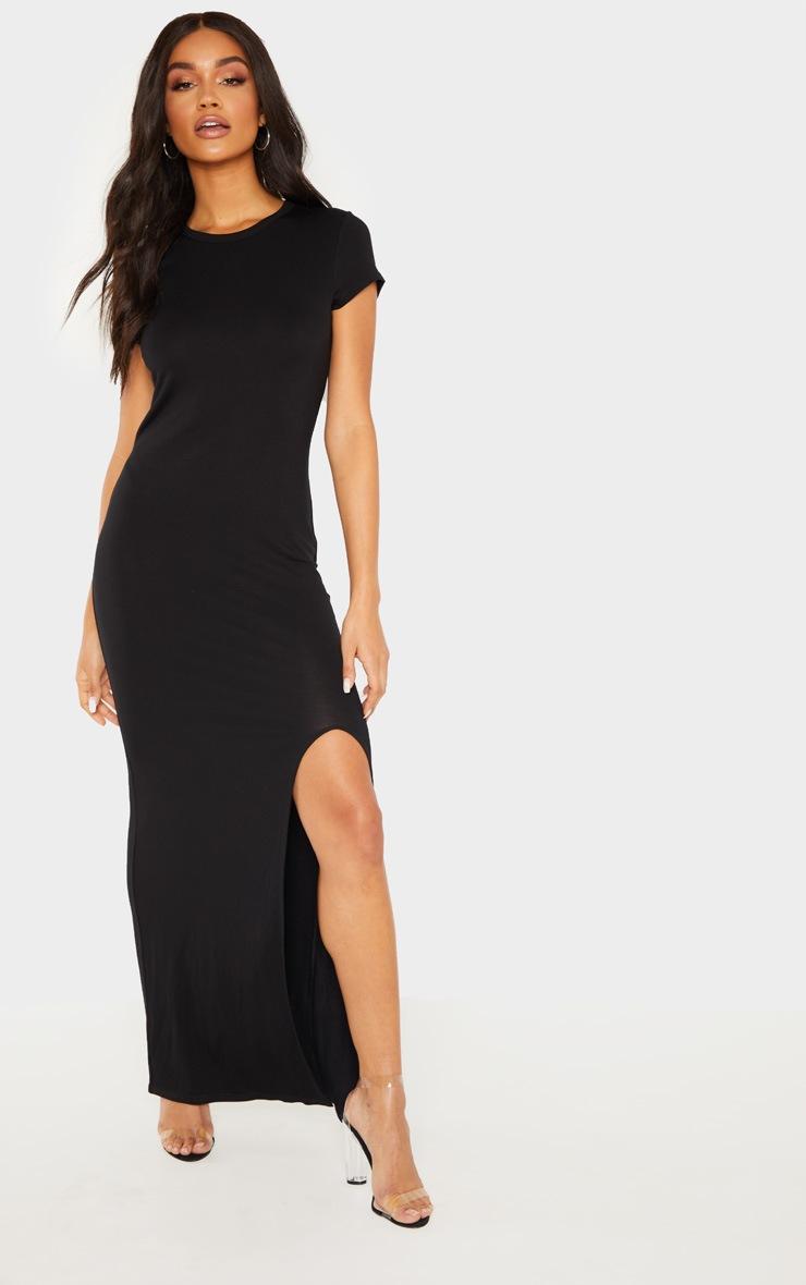Black Split T Shirt Midi Dress by Prettylittlething