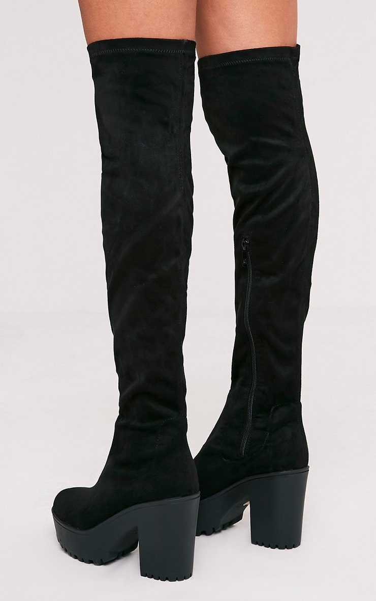 Teresa Black Cleated Platform Over the Knee Boot 4