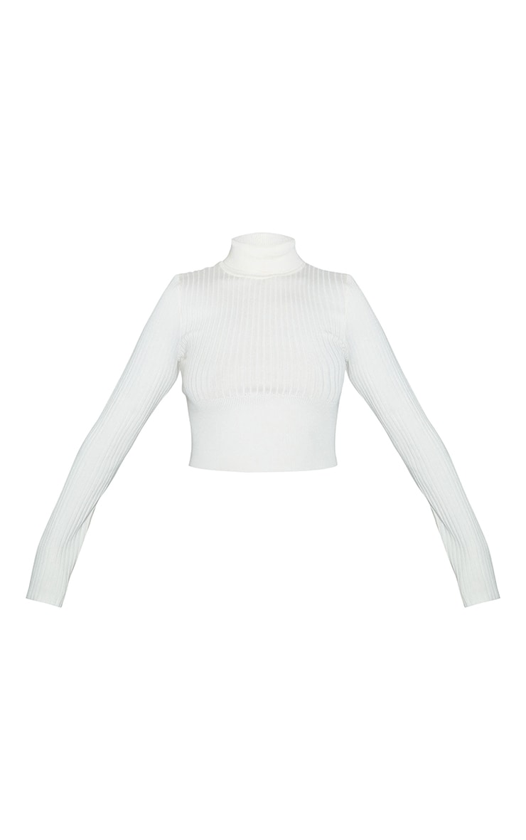 Cream Ribbed Knit Roll Neck Cropped Sweater 5