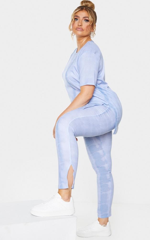 Plus Dusty Blue Tie Dye Rib Split Hem Leggings 1