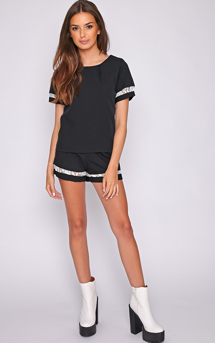 Angelina Black Boxy Top with Lace Detail 3