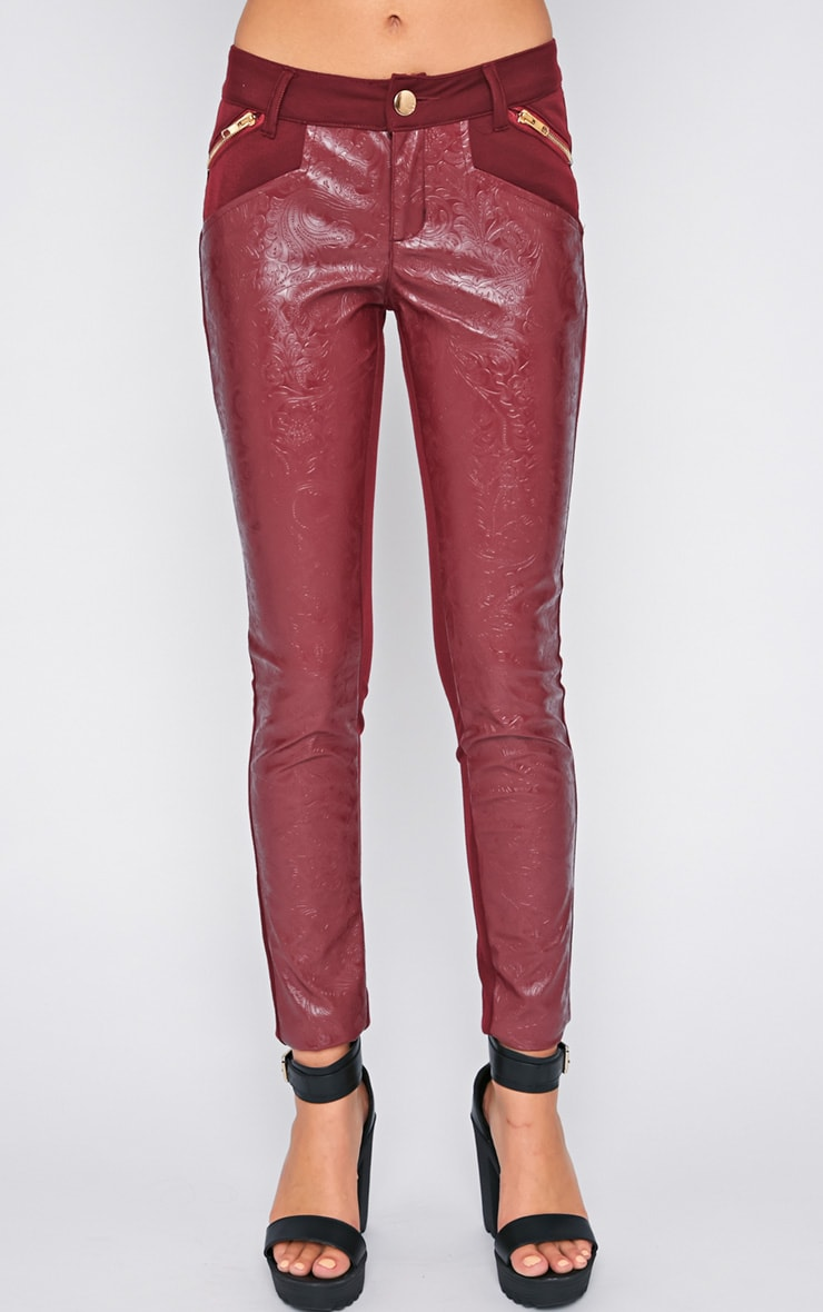 Sheree Burgundy Leather Panel Jeans With PU Floral Detail 3