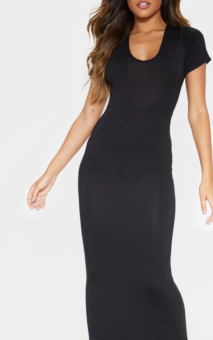 Black Jersey V Neck Short Sleeve Maxi Dress 5