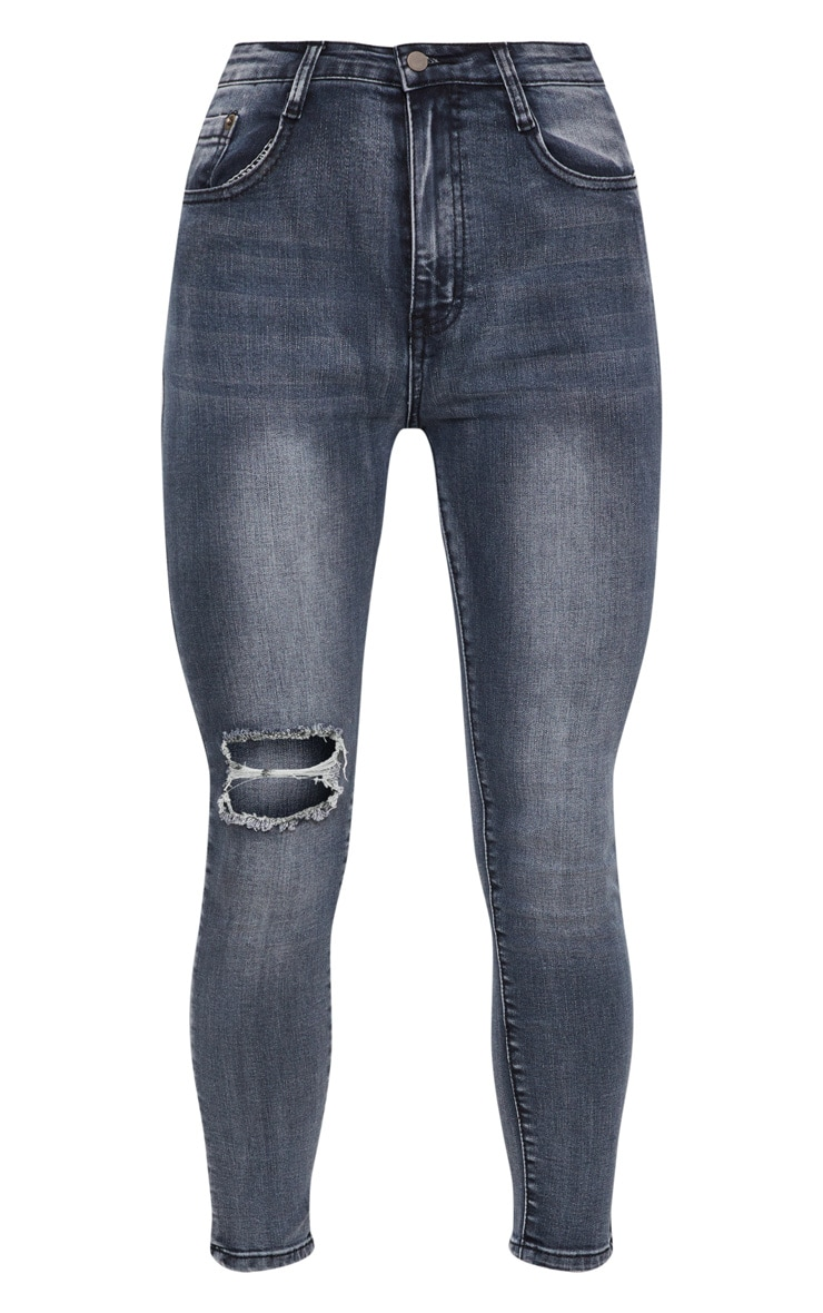 Washed Indigo Rip Knee Skinny Jean 3