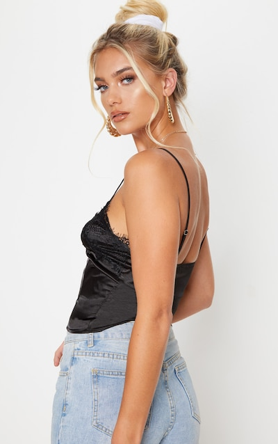 Black Lace Trim Satin Cami Top