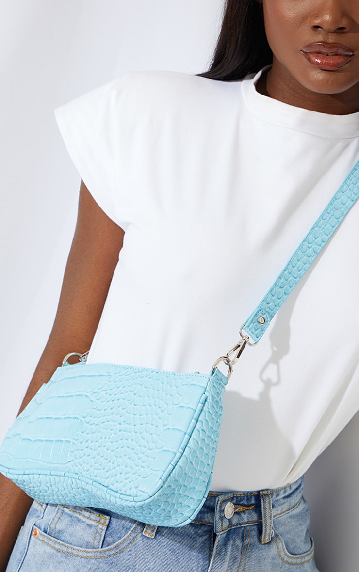 Blue Croc Shoulder Bag 2