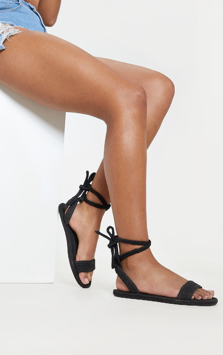 Black Espadrille Lace Up Sandal 1