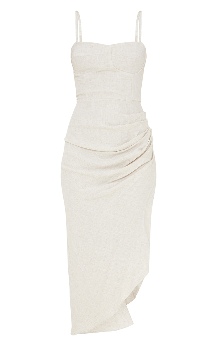 Stone Linen Strappy Gathered Skirt Detail Midaxi Dress 5