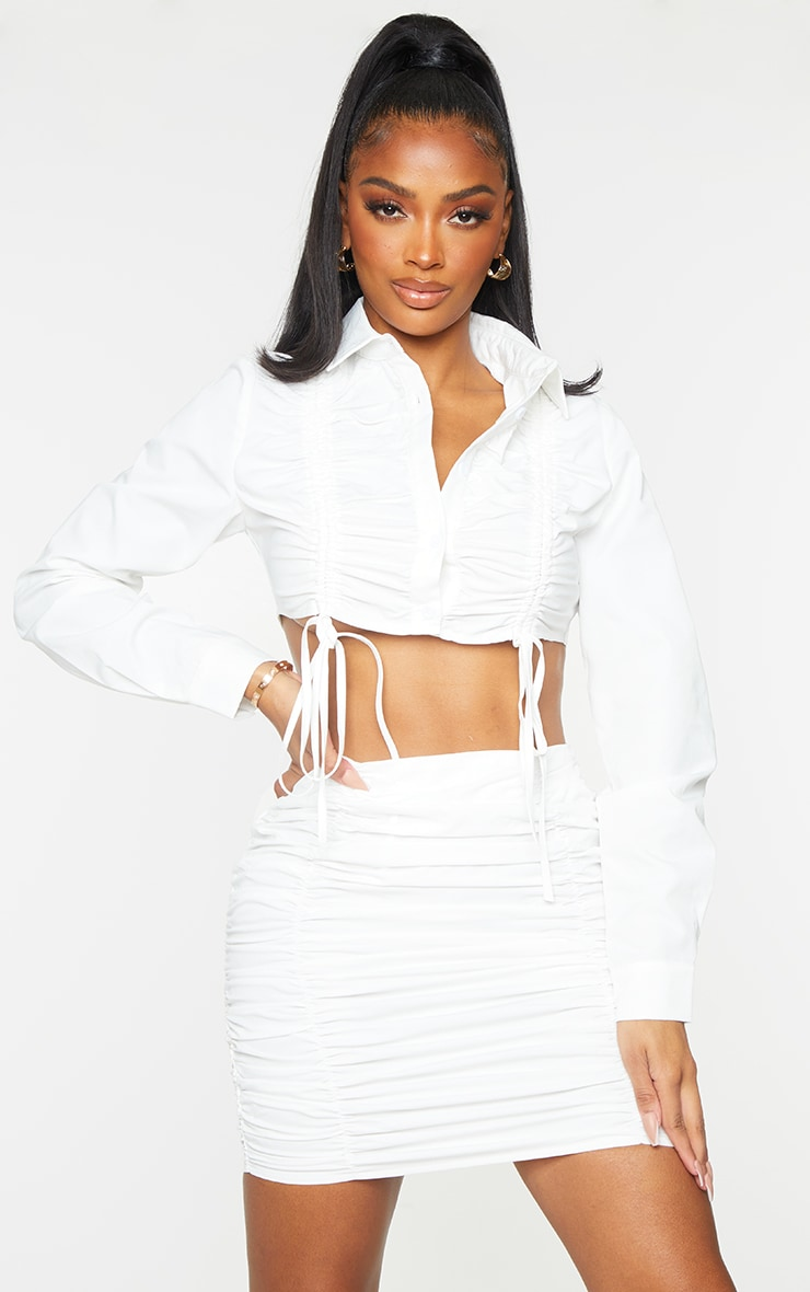 Shape White Ruched Front Cropped Shirt 1