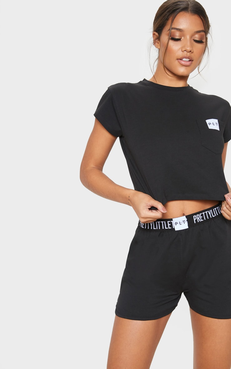 PRETTYLITTLETHING Black T-Shirt And Boxer Short PJ Set 5
