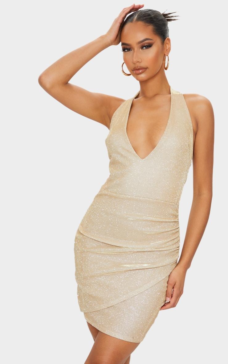 Gold Glitter Halterneck Ruched Wrap Skirt Bodycon Dress 1