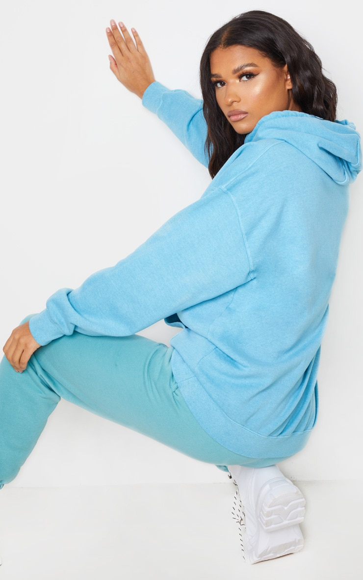 Dusty Turquoise Washed Oversized Hoodie 3