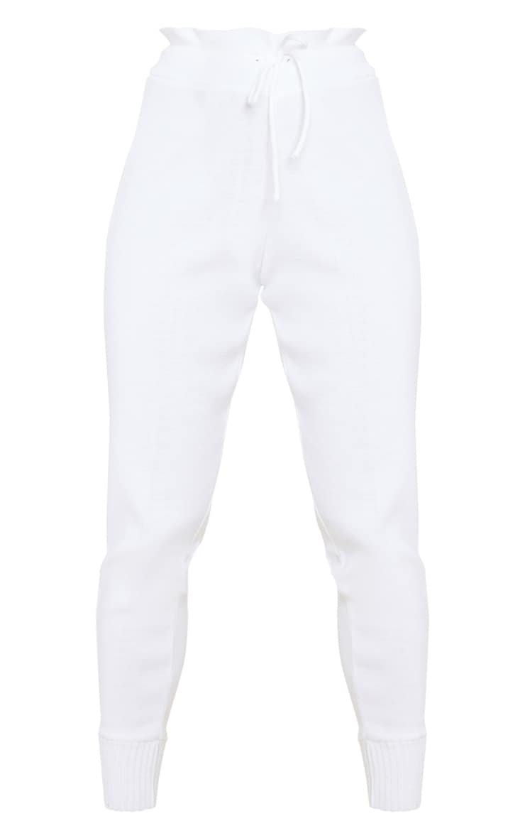 PRETTYLITTLETHING White Knitted Joggers 6