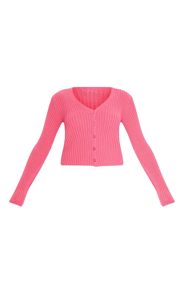 Hot Pink Button Front Cardigan 5