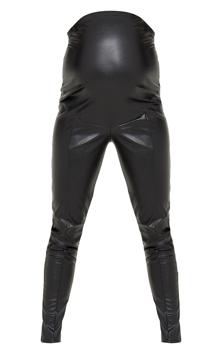 Maternity Black Faux Leather Leggings 5