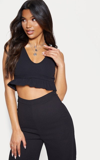 d0f0e238b34714 Black Plunge Sleeveless Frill Hem Crop Top