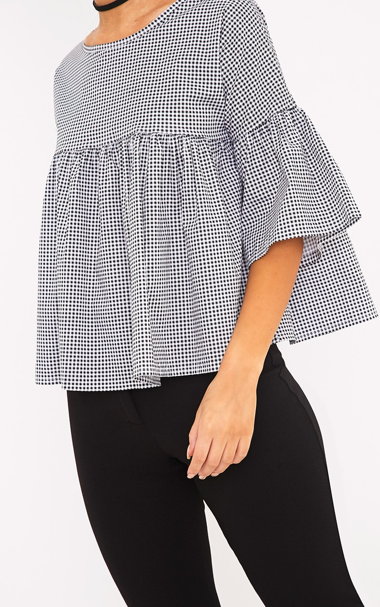 Alexiah Black Gingham Frill Sleeve Blouse 5