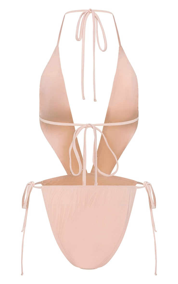 Nude Beaded Grid Cut Out Swimsuit 4