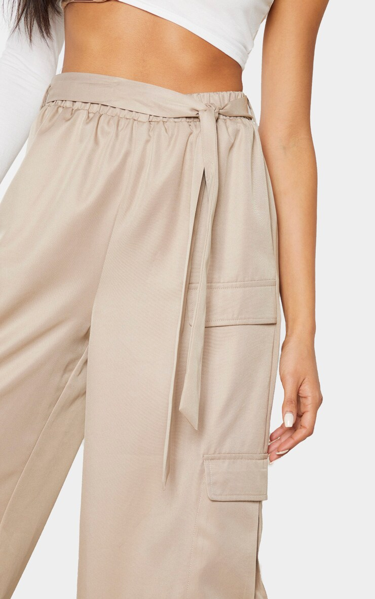Stone Tie Waist Wide Leg Cargo Pants 5