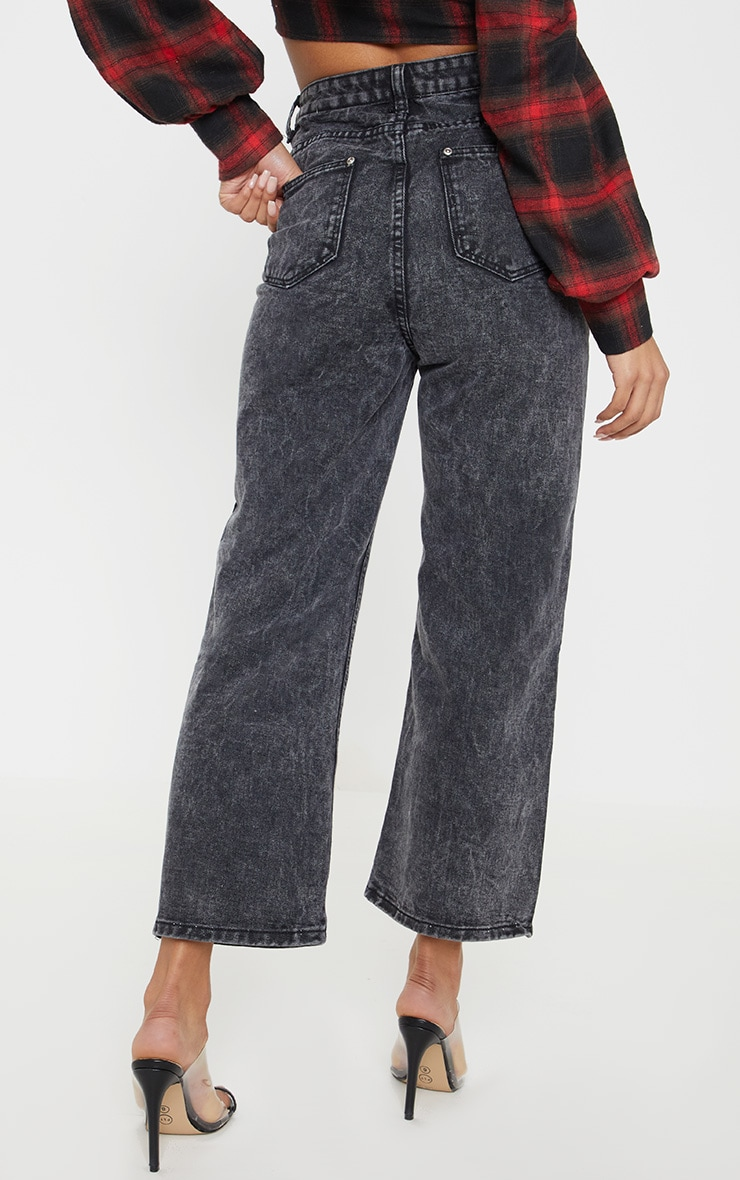 Washed Black Button Through Wide Leg Cropped Jean 4