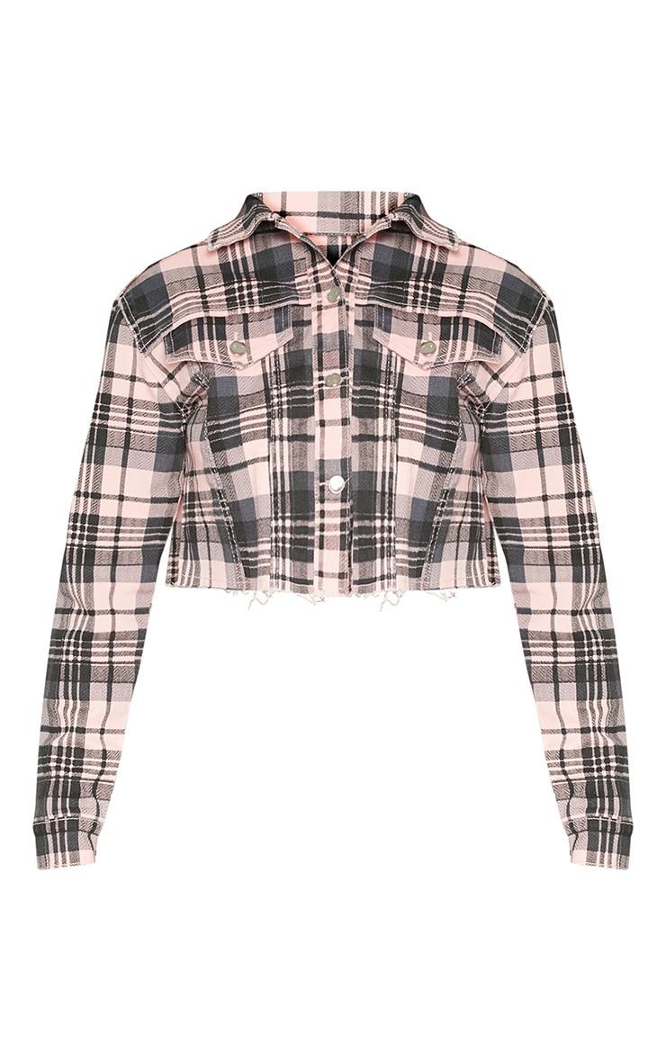 Pale Pink Check Denim Jacket 4