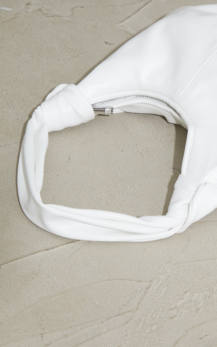 White Double Knot Rounded Shoulder Bag 3