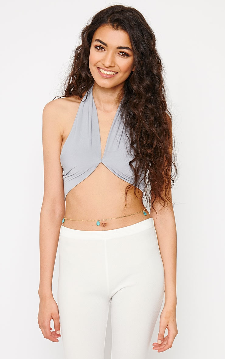 Eloise Grey Halterneck Crop Top 1