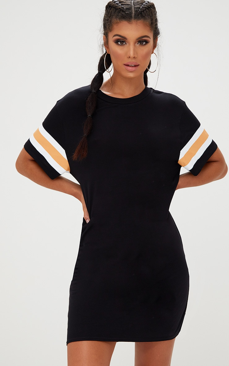 Black Triple Banded T Shirt Dress 4
