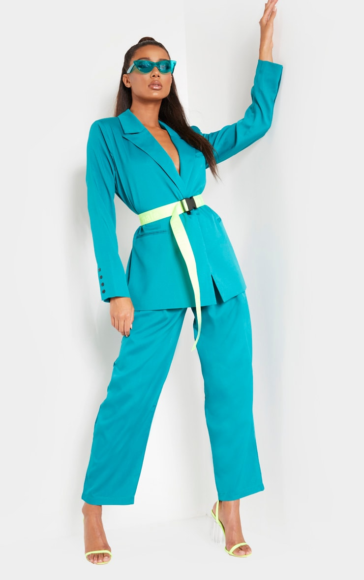 Teal Woven High Waisted Cigarette Trouser 1