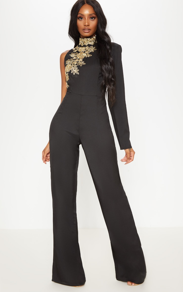 Black High Neck Embroidered Asymmetric Sleeve Jumpsuit 2