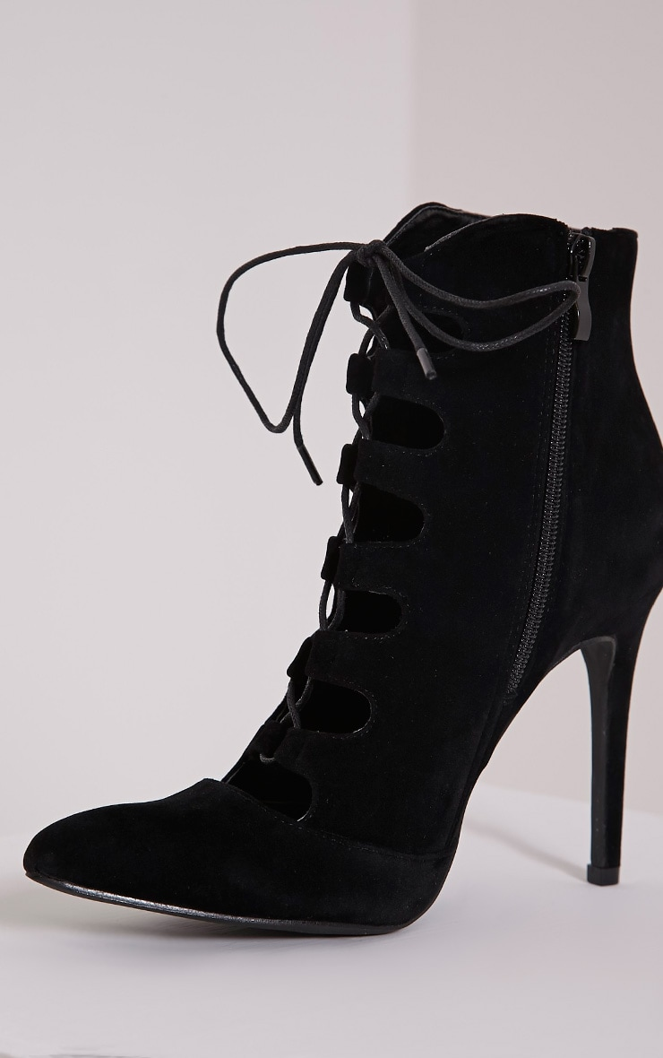 Henny Black Suede Lace Up Heels 5