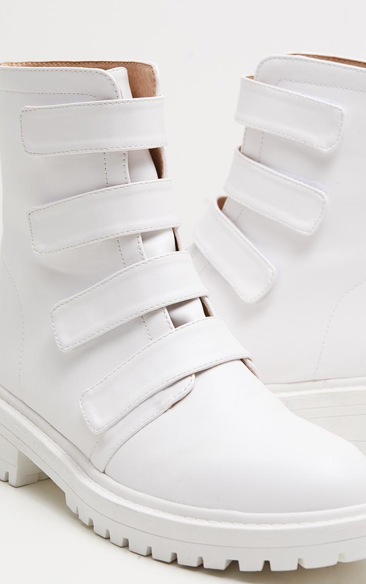 White Velcro Strap Biker Boot 4