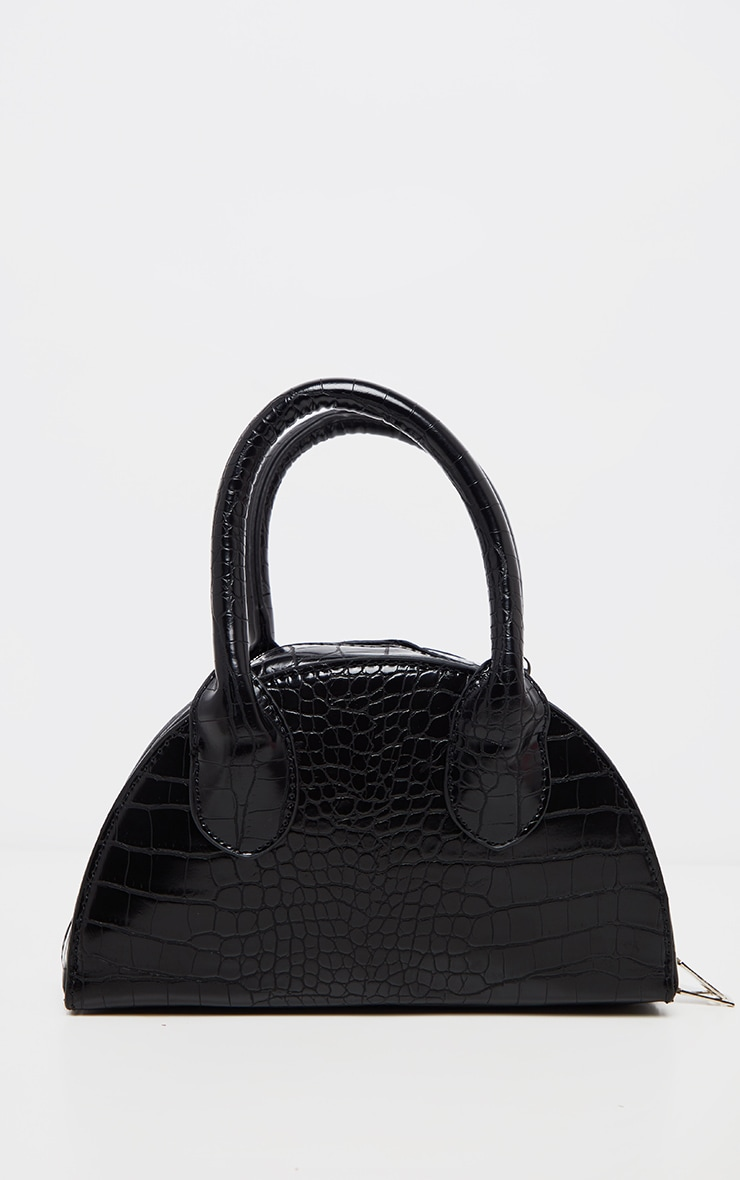 Black Croc Half Circle Mini Grab Bag 4