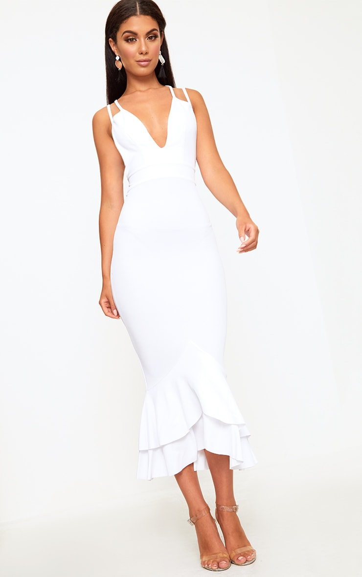 White Strappy Fishtail Midi Dress 3