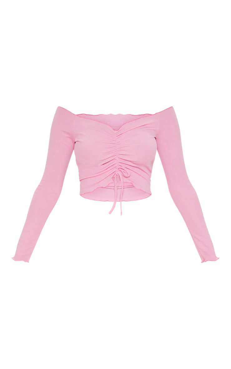 Pink Rib Frill Long Sleeve Bardot Crop Top 3