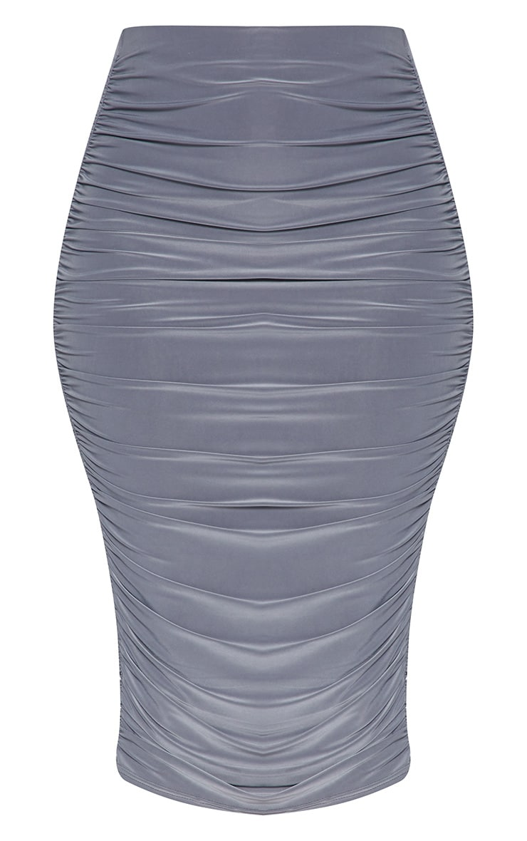Grey Slinky Second Skin Ruched Midi Skirt 3