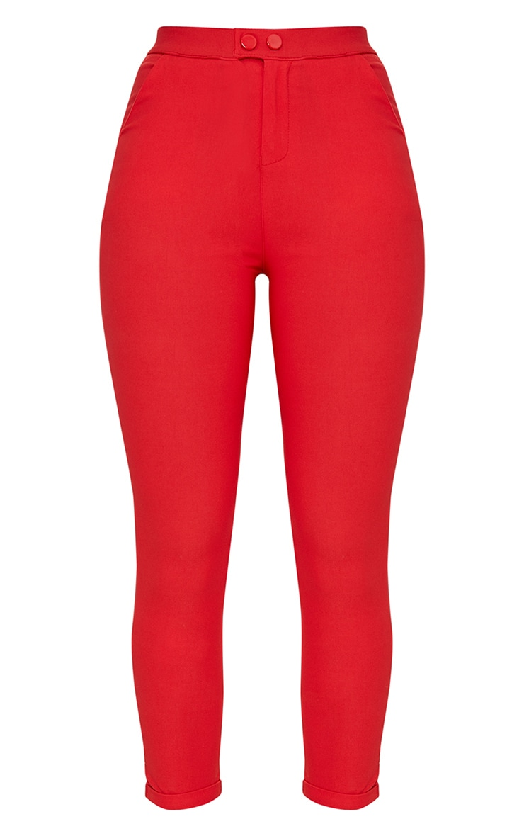Red High Waisted Jeggings 3