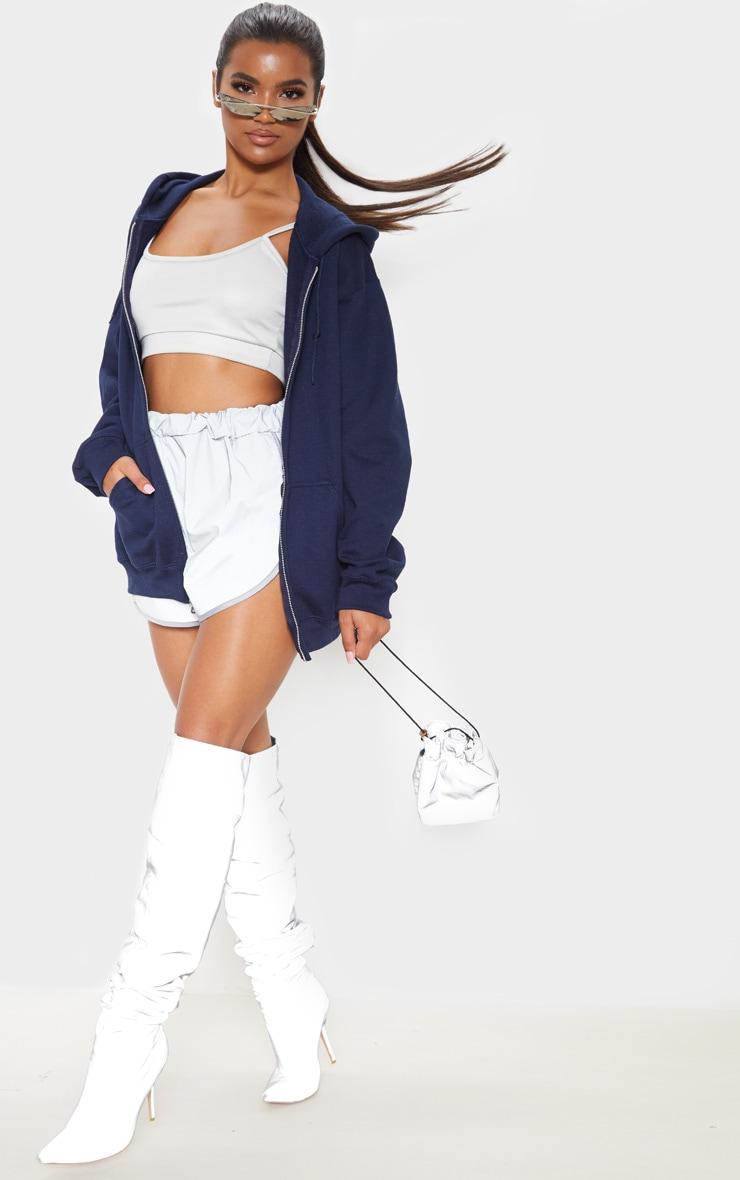 Hoodie bleu marine à zip et doublure polaire 1