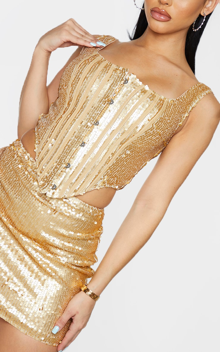 Shape Gold Sequin Square Neck Corset Detail Top 4