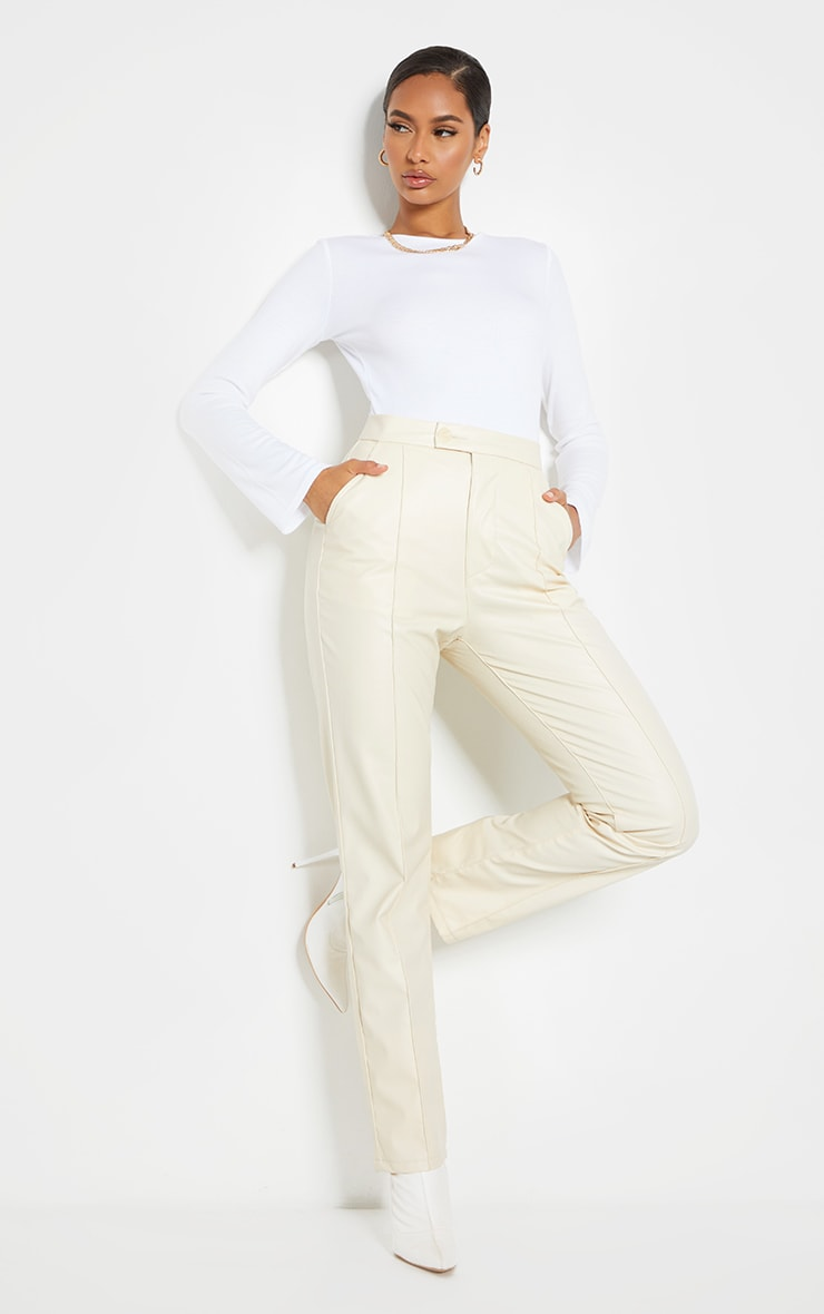 Cream Faux Leather Pintuck Detail Straight Leg Trousers 1