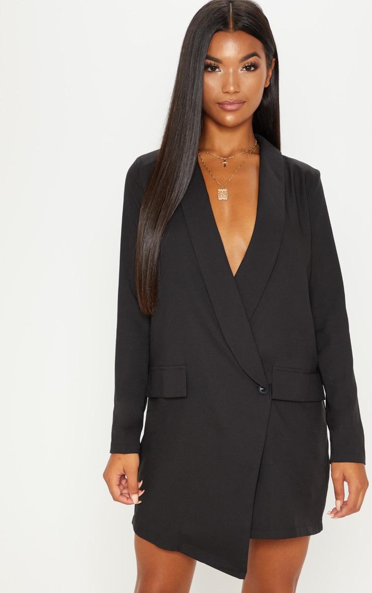 Black Asymmetric Hem Oversized Blazer Dress 1