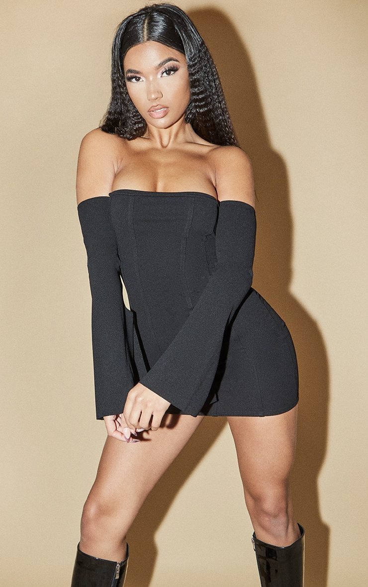 Black Bardot Flare Sleeve Binding Detail Bodycon Dress 1
