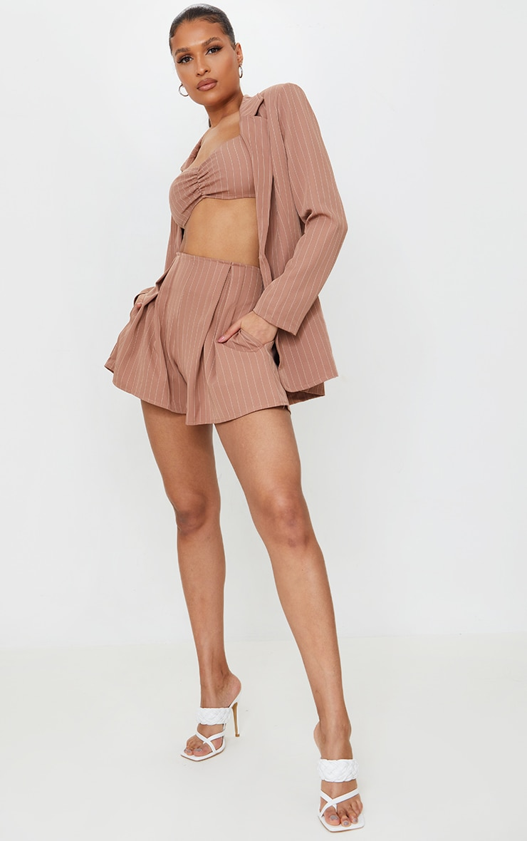 Dusty Pink Woven Pinstripe Pleated Front Floaty Shorts