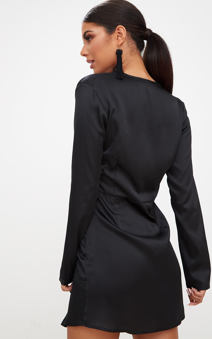 Black Satin Long Sleeve Wrap Dress  2